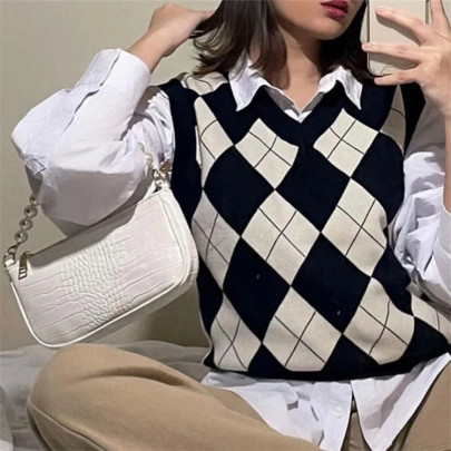 Wholesale Clothing Vendors Nihaostyles Loose Contrast Color Lattice Knitted Vest NSHS66345