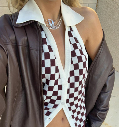 Nihaostyle Clothing Wholesale Checkerboard Small Lapel Knit Vest NSHS66353