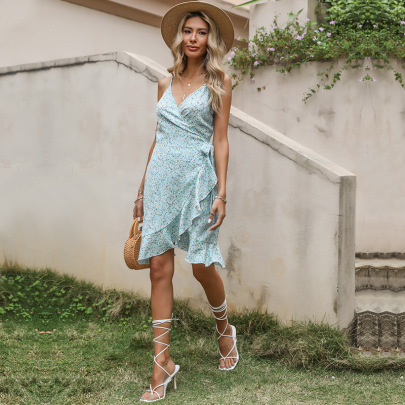 Wholesale Clothing Vendors Nihaostyles Irregular Floral Wrap Sling Dress NSYMR66387