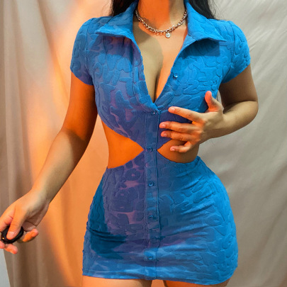 Wholesale Clothing Vendors Nihaostyles Lapel Single-breasted Hollow V-neck Hip Dress NSXE66418