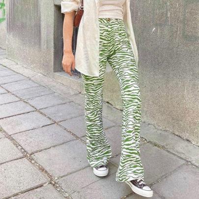 Wholesale Clothing Vendors Nihaostyles Striped High-waist Straight-leg Wide-leg Pants NSXE66420
