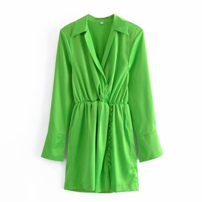 Wholesale Clothing Vendors Nihaostyles Summer New Solid Color Long-sleeved Shoulder Pads Shirt Dress  NSAM66461