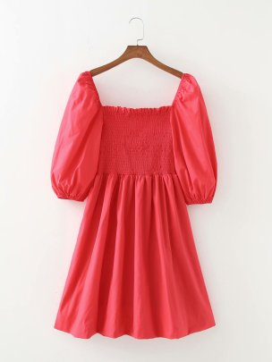 Wholesale Clothing Vendors Nihaostyles Lantern Sleeve Square Neck Stretch Short Solid Color Dress NSAM66473