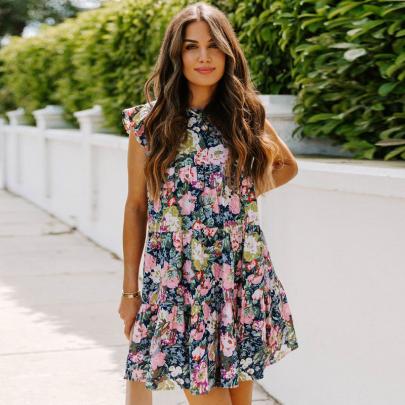 Nihaostyle Clothing Wholesale Summer Fashion Print Round Neck Sleeveless Dress NSSUO66515