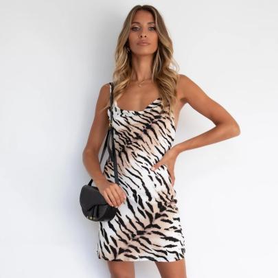 Nihaostyle Clothing Wholesale Summer Women's Fashion Print Leopard Print Sleeveless Sexy Slim Sling Dress NSSUO66524