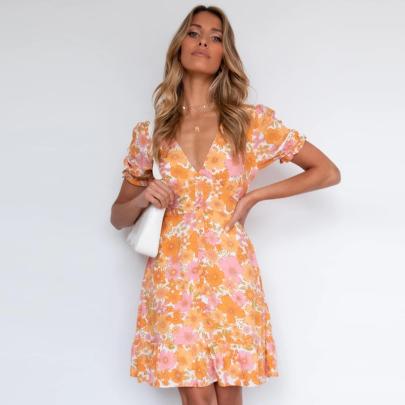 Nihaostyle Clothing Wholesale Summer Fashion V-neck Slim Printed Floral Short Sleeve Dress NSSUO66522