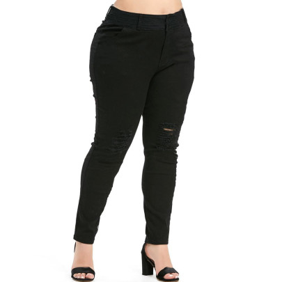 Nihaostyle Clothing Wholesale Plus Size Solid Color Ripped Casual Pants NSOUY66491