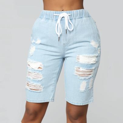 Nihaostyle Clothing Wholesale Elastic Waist Ripped Denim Pants NSOUY66487