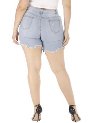 Nihaostyle Clothing Wholesale Summer New Female Plus Size Denim Shorts NSOUY66504
