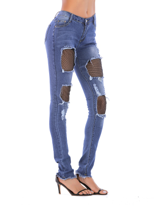 Nihaostyle Clothing Wholesale Lace Women's Denim Trousers NSOUY66499