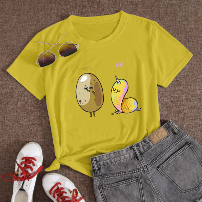 Wholesale Clothing Nihaostyles Cute Potato Print Casual Short-sleeved T-shirt  NSYAY67094
