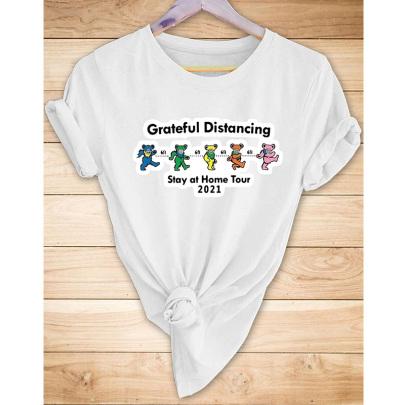 Wholesale Clothing Nihaostyles Cartoon Bear English Print Casual Short-sleeved T-shirt NSYAY67092