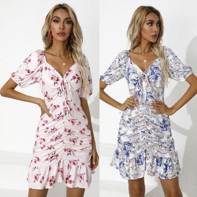 Wholesale Clothing Vendors Nihaostyles Print Slim Drawstring V-neck Dress NSJC66508