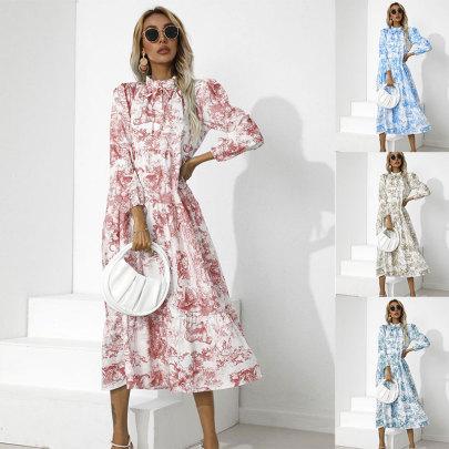 Wholesale Clothing Vendors Nihaostyles Round Neck Print Loose Nine-point Sleeve Dress NSJC66509