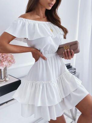 Nihaostyle Clothing Wholesale Fashion Strapless Ruffle Dress NSOUY66558