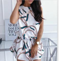 nihaostyle clothing wholesale chain print round neck waist dress NSOUY66549
