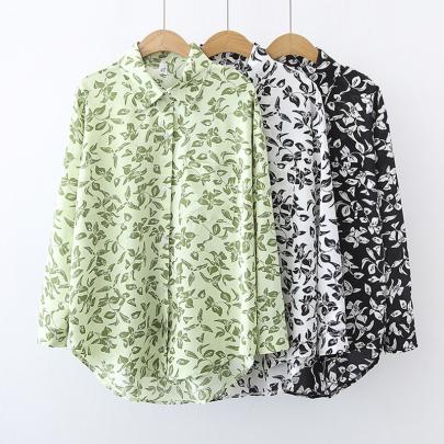 Wholesale Clothing Vendors Nihaostyles Retro Printing Loose Long-sleeved Lapel Chiffon Shirt  NSYID66785