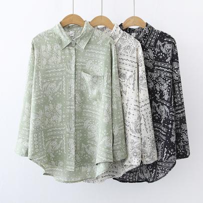 Wholesale Clothing Vendors Nihaostyles Retro Temperament Long-sleeved Casual Printed Shirt NSYID66786