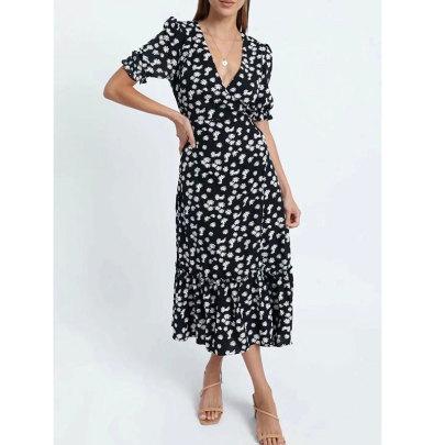 Wholesale Clothing Vendors Nihaostyles Short-sleeved V-neck Split Ruffle Print Dress NSJIM66793