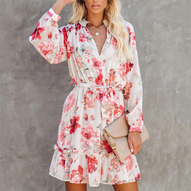 Wholesale Clothing Vendors Nihaostyles V-neck Long-sleeved Waist Slimming Dress NSHHF66589