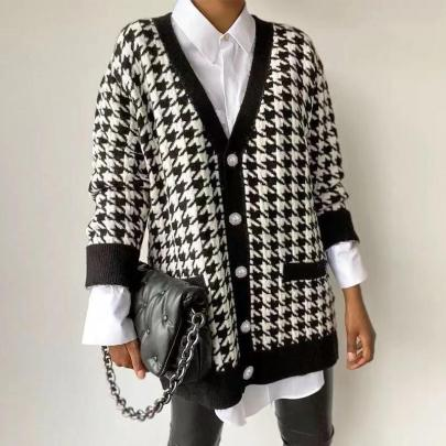Nihaostyle Clothing Wholesale Houndstooth Knitted Cardigan NSQYS66624