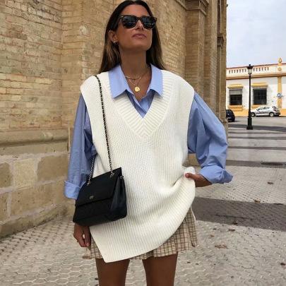 Nihaostyle Clothing Wholesale Loose Slit V-neck Sleeveless Knitted Sweater NSQYS66648