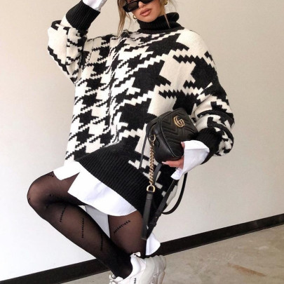 Nihaostyle Clothing Wholesale Houndstooth Knitted Casual Retro Pullover Sweater NSHML66653