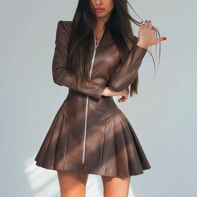 Nihaostyle Clothing Wholesale Women's Solid Color Slim Sexy Zipper Pleated Leather Skirt Dress NSHML66656