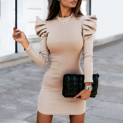 Nihaostyle Clothing Wholesale Round Neck Solid Color Slim Sexy Dress NSHML66659