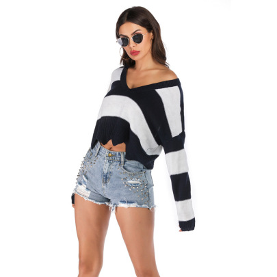 Nihaostyle Clothing Wholesale Autumn New Striped V-neck Knitted Long-sleeved Sweater NSYYF66668