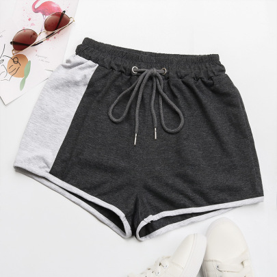 Wholesale Clothing Vendors Nihaostyles Wide Leg Pants Contrasting Color Drawstring Sports Casual Shorts NSYYF66681
