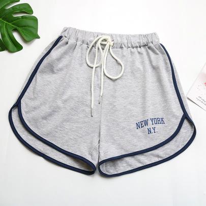 Wholesale Clothing Vendors Nihaostyles Wide-leg Pants Gray Print Loose Sports Shorts NSYYF66682