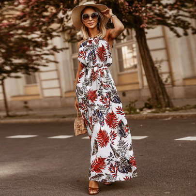 Nihaostyle Clothing Wholesale Summer Bohemian Retro Print Halter Neck Skirt NSHYG66687