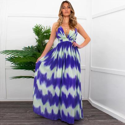 Nihaostyle Clothing Wholesale Striped Print Dress NSHYG66703
