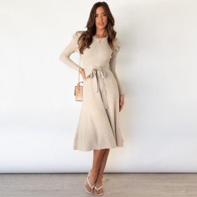 Nihaostyle Clothing Wholesale New Long-sleeved Knitted Skirt NSHYG66704