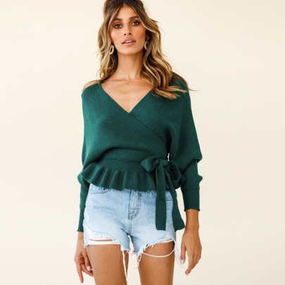 Nihaostyle Clothing Wholesale Fall/winter New Style Women's Sexy V-neck Knitted Top NSHYG66707