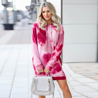 Nihaostyle Clothing Wholesale New Tie-dye Printed Long-sleeved Sweater Dress NSHYG66708