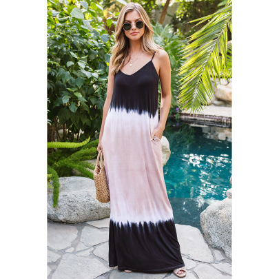 Nihaostyle Clothing Wholesale Spring And Summer New Gradient Color Sleeveless Suspender Dress NSHYG66713