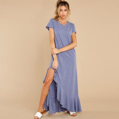 Nihaostyle Clothing Wholesale New Short-sleeved Knitted Dress NSHYG66726