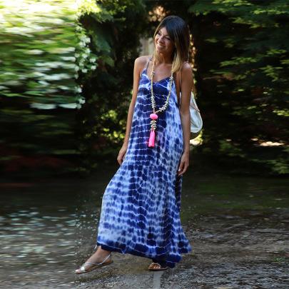 Nihaostyle Clothing Wholesale Tie-dye Suspender Large Swing Skirt NSHYG66734