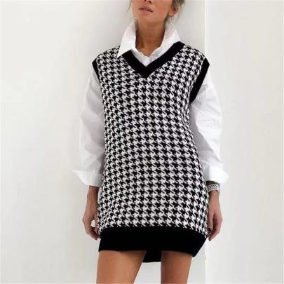 Wholesale Clothing Vendors Nihaostyles Loose Houndstooth V-neck Pullover Knitted Vest  NSBY66747