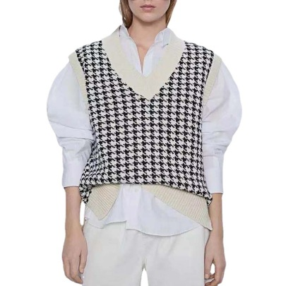 Wholesale Clothing Vendors Nihaostyles Houndstooth V-neck Loose Casual Knitted Vest NSBY66761