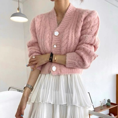 Wholesale Clothing Vendors Nihaostyles Candy Color V-neck Irregular Button Hemp Pattern Cardigan Sweater NSBY66766