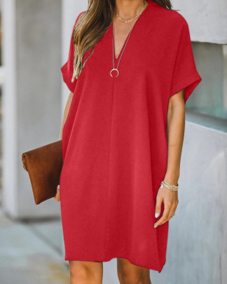 Wholesale Clothing Vendors Nihaostyles V-neck Short-sleeved Solid Color Loose Dress NSOUY66806