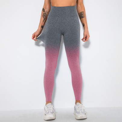 Nihaostyle Clothing Wholesale Gradient Color Yoga Running Fitness Pants NSNS66813