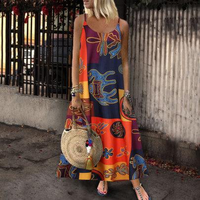 Nihaostyle Clothing Wholesale Sleeveless Printed Dress NSYIC66818