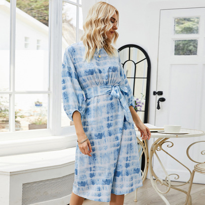 Nihaostyle Clothing Wholesale Fashion Summer Round Neck Tie-dye Printing Dress NSLM66826