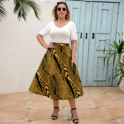Nihaostyle Clothing Wholesale Elastic Waist Mid-length Loose A-line Skirt NSLM66830