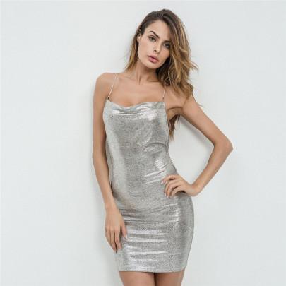 Wholesale Women's Clothing Nihaostyles New Bronzing Halter Metal Chain Low-cut Slim-fit Hip Dress  NSYML66850