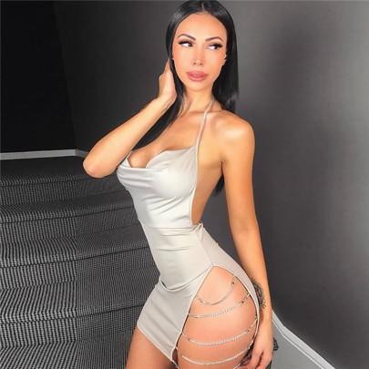Wholesale Women's Clothing Nihaostyles Diamond Chain Nightclub Halter Strap Side Slit Bag Hip Sling Dress  NSYML66861